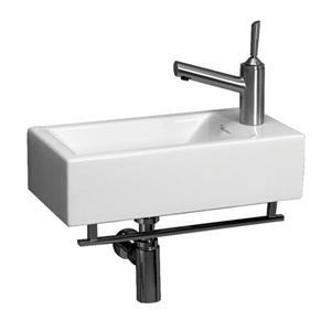 Whitehaus Collection Wall Mount Bathroom Sink with Towel Bar - 19.75-in - White