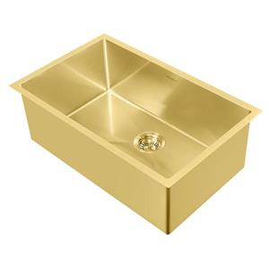 Whitehaus Collection Dual Mount Kitchen Sink Set - Single Bowl - Gold Brass