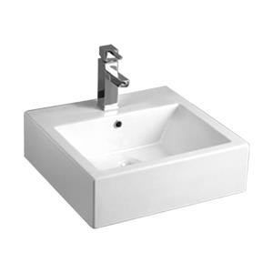 Whitehaus Collection Rectangular Bathroom Sink with Overflow - 19.63-in - White