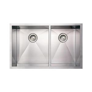 Whitehaus Collection Commercial Undermount Sink - Double Bowl - Stainless Steel