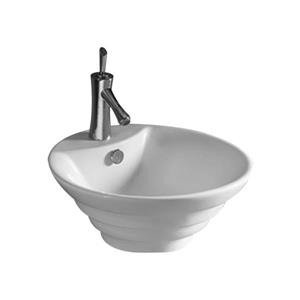 Whitehaus Collection Circular Bathroom Sink with Overflow - 18-in - White Porcelain