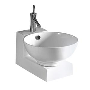 Whitehaus Collection Wall Mount Porcelain Bathroom Sink with Overflow - 17-in