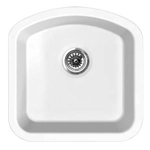 Whitehaus Collection Fireclay Undermount Sink - D-Shaped Single Bowl - White