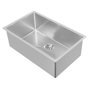 Whitehaus Collection Dual Mount Kitchen Sink Set - Single Bowl -Brushed Stainless