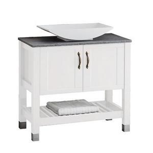Luxo Marbre Lady Bathroom Vanity - 2 Doors - 30-in - Lacquered White