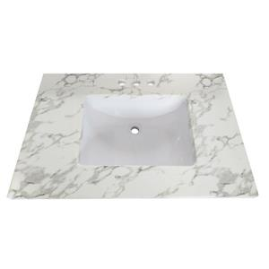 Luxo Marbre Quartz Bathroom Countertop - 37-in x 22-in - White