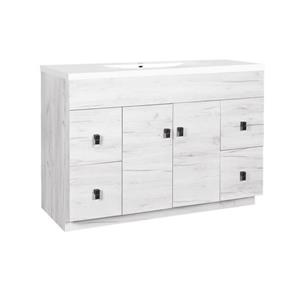 Luxo Marbre Relax Bathroom Vanity -  49-in - Old White Wood Veneer