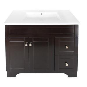Luxo Marbre Mirano 2-Door Bathroom Vanity - 37-in - Lacquered Dark brown