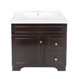 Luxo Marbre Mirano 2-Door Bathroom Vanity - 31-in - Lacquered Dark brown