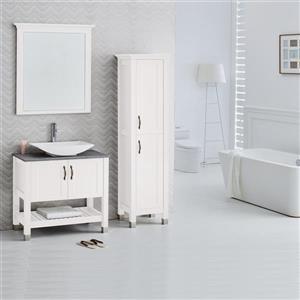 Luxo Marbre 2-Door Bathroom Cabinet - 16.75-in x 72-in - Lacquered White
