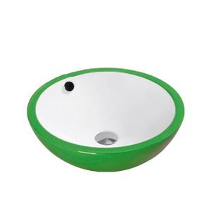 Luxo Marbre Ceramic Bathroom Sink with Overflow - 17.25-in - White/Green