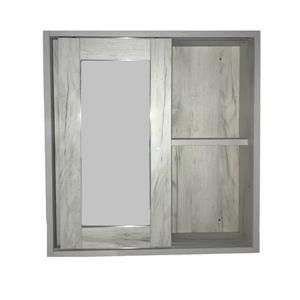 Luxo Marbre Eco Mirror Medicine Cabinet - 24-in x 25.25-in - Old White Wood