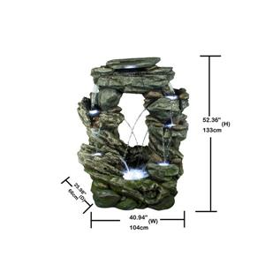 Hi-Line Gift Multi-Level Stone Fountain with Lights - Multicoloured