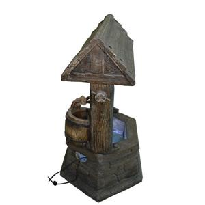 Hi-Line Gift Wishing Well Fountain with Bucket and LED Lights - Multi