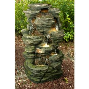 Hi-Line Gift Multi-Level Rock Fountain with LED Lights - Multicoloured