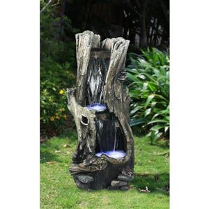 Hi-Line Gift Tree Trunk Waterfall Fountain with LED Lights - Multi