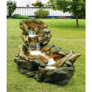 Hi-Line Gift Stone/Branch Fountain Waterfall with LED Lights - Multi