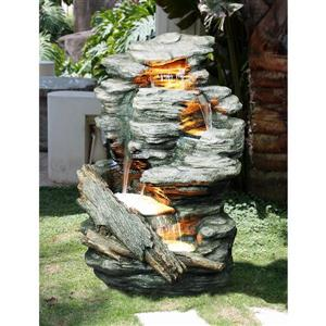 Hi-Line Gift Multi-Level Rock Fountain with LED Lights - Multicoloured