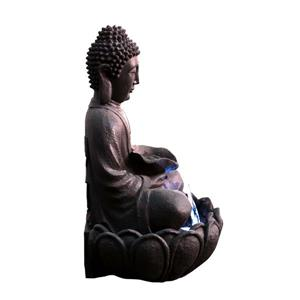 Hi-Line Gift Outdoor Buddha Fountain with LED Lights - Multicoloured