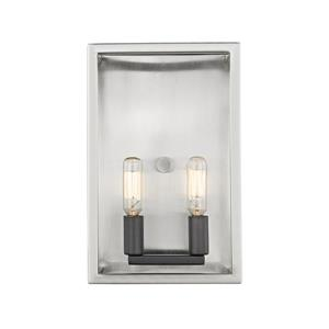 Z-Lite Quadra 2-Light Wall Sconce - Brushed Nickel/Black