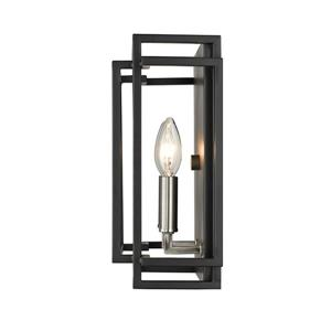 Z-Lite Titania 2-Light Wall Sconce - Black/Brushed Nickel