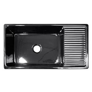 Whitehaus Collection Large Reversible Fireclay Sink - 36-in - Black