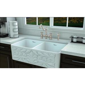 Whitehaus Collection Bridge Faucet with Side Spray - Nickel