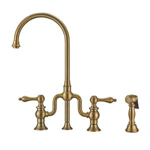 Whitehaus Collection Bridge Faucet with Side Spray - Brass