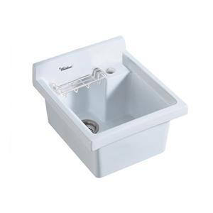 Whitehaus Collection Single Bowl Drop-in Utility Sink - White
