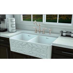 Whitehaus Collection Bridge Kitchen Faucet with Side Spray - Nickel
