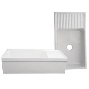 Whitehaus Collection Large Reversible Fireclay Sink - 36-in - White
