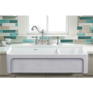 Whitehaus Collection Large Double Bowl Fireclay Sink - 42-in - White