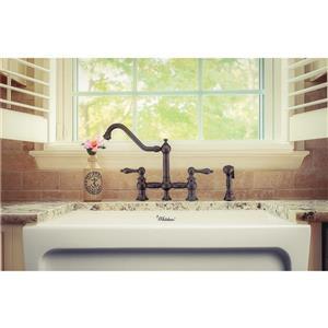 Whitehaus Collection Bridge Kitchen Faucet with Side Spray - Bronze