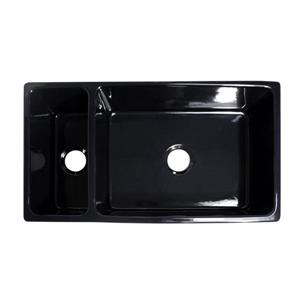 Whitehaus Collection Double Bowl Fireclay Kitchen Sink - 36-in - Black