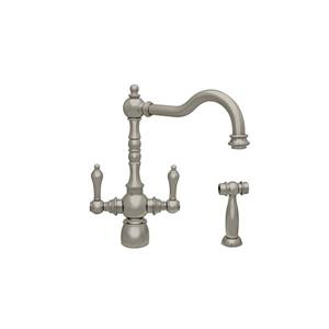 Whitehaus Collection Kitchen Faucet with Matching Side Spray - Nickel