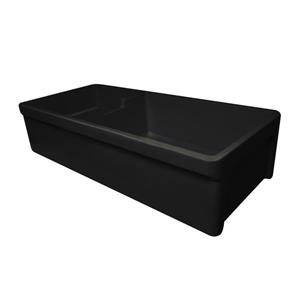 Whitehaus Collection Fireclay Front Apron Double Sink - 42-in - Black