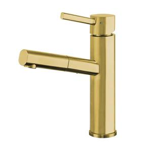 Whitehaus Collection Kitchen Faucet with Pull-Out Spray Head - Brass