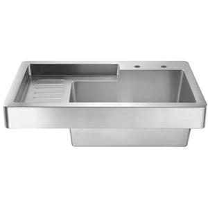 Whitehaus Collection Drop in Utility Sink with Drainboard - Stainless steel