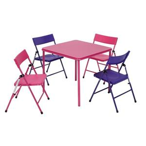 Cosco 5-Piece Kid's Table and Chair Set - Pink and Purple