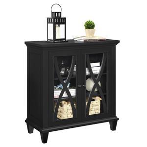 Ameriwood Home Ellington Accent Cabinet - 2 Doors - Black