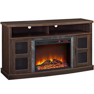 Ameriwood Home Barrow Creek Fireplace with TV Cabinet - 2 Doors - Espresso