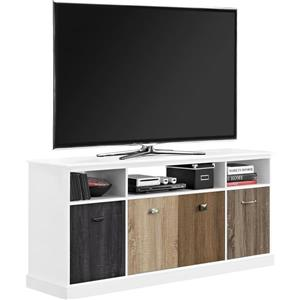"Ameriwood Home Mercer TV Cabinet- 60"" - White with Multicolored Door Fronts"