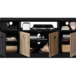 "Ameriwood Home Mercer TV Cabinet- 60"" - Black with Multicolored Door Fronts"
