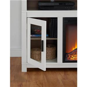 """Ameriwood Home Carver Fireplace with TV Cabinet - For TVs up to 60"""" - White"""