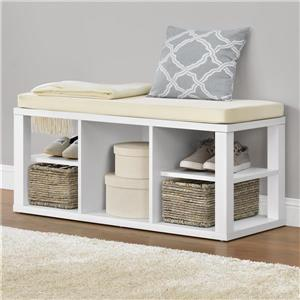 Ameriwood Home Parsons Bench with Open Storage - White