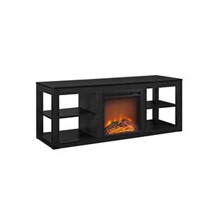 "Ameriwood Home Parsons TV Stand - TVs up to 65"" - Electric Fireplace -Black"