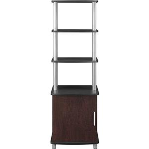 Ameriwood Home Carson Audio Stand - 1 Door and Open Shelves - Cherry/Black