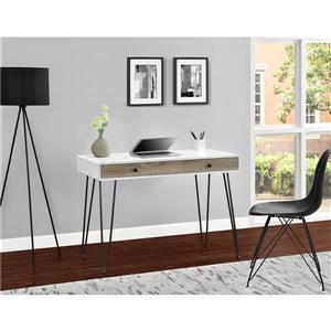 Ameriwood Home Owen Retro Desk with Drawer - White