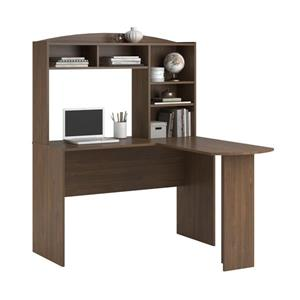 Ameriwood Home Sutton L-Shaped Desk with Hutch - Walnut
