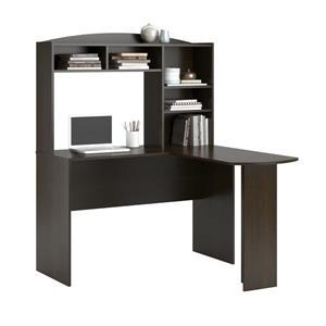 Ameriwood Home Sutton L-Shaped Desk with Hutch - Espresso